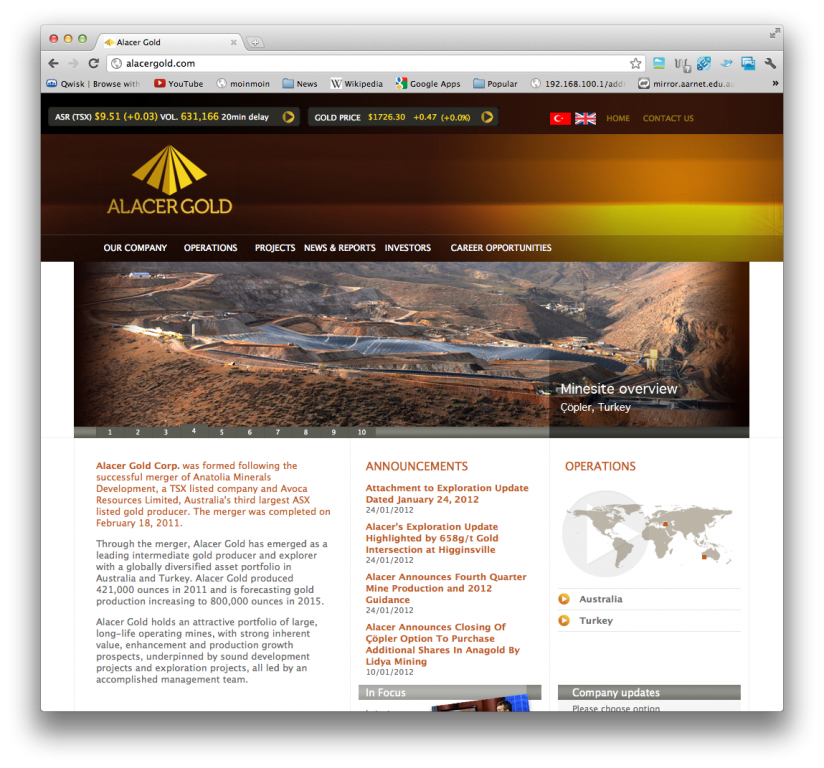 Alacer Gold corporate site