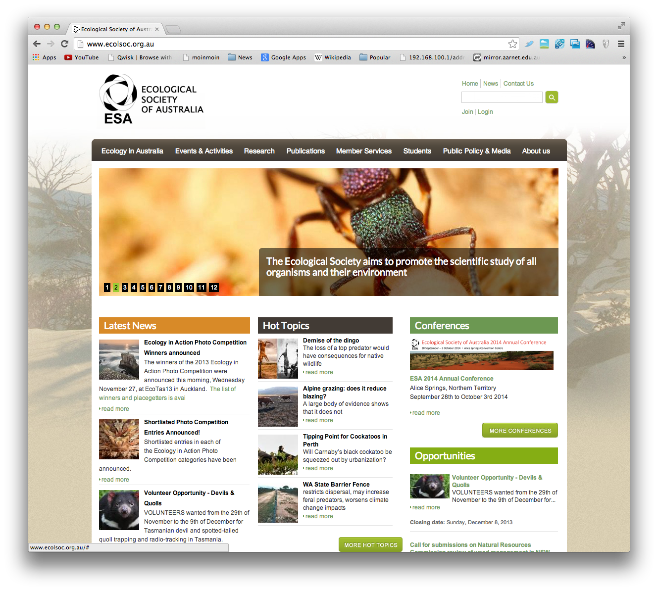 Ecological Society Home Page
