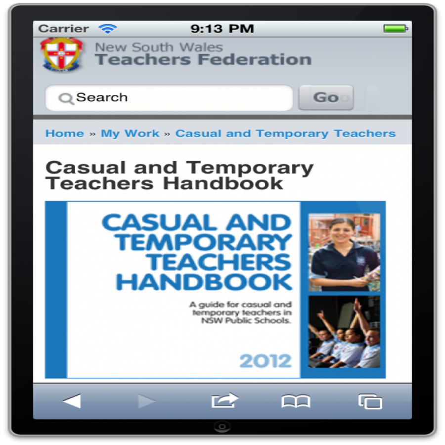 Casual Teachers handbook mobile interface screen grab
