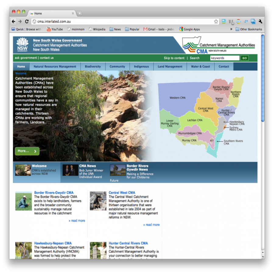 NSW Catchment Management Authority screen grab