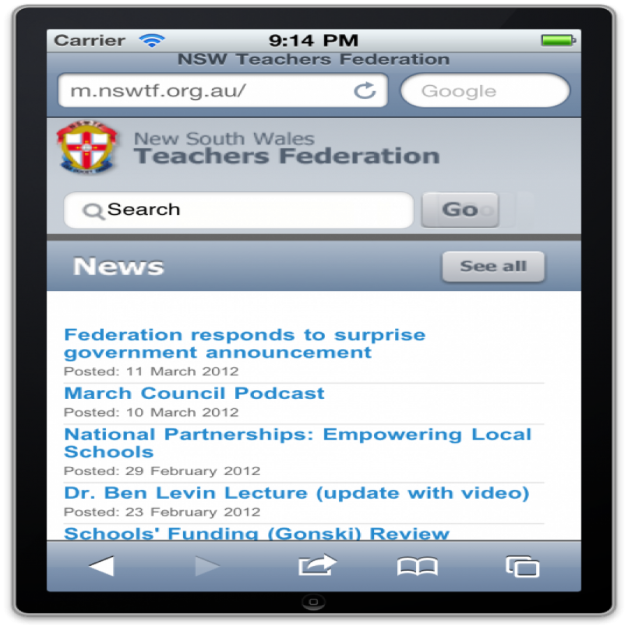 NSWTF Mobile site screen grab
