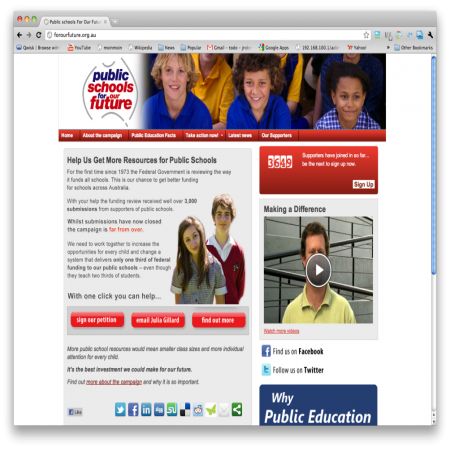 NSWTF Our Public Schools screen grab