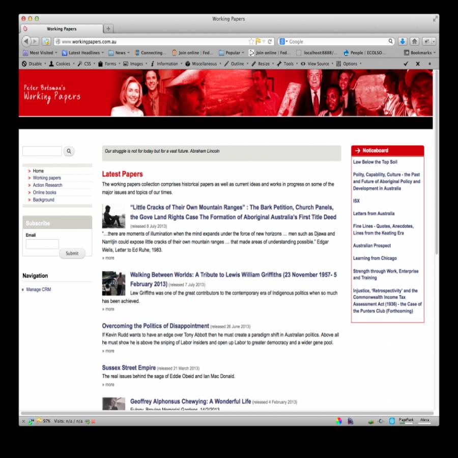 Peter Botsman Working Papers screen grab