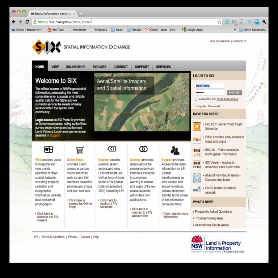 SIX portal screen grab