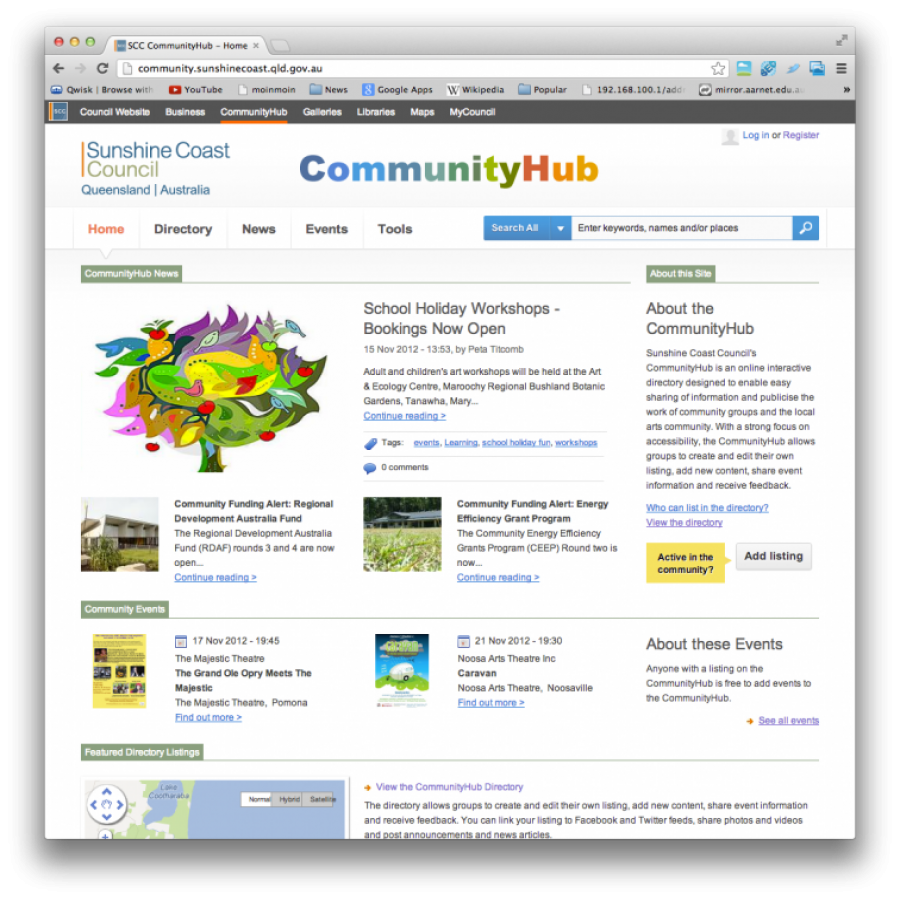 Sunshine Coast Community Hub screen grab